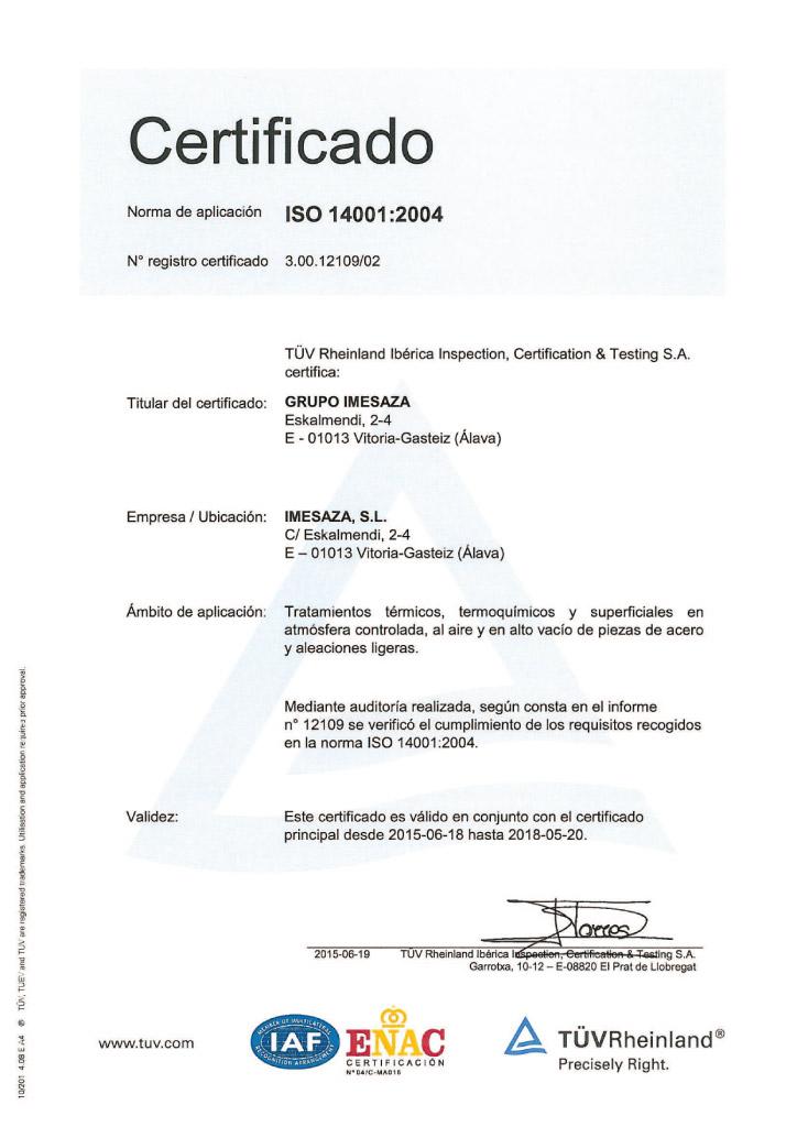 Certificado Imesaza ISO 14001