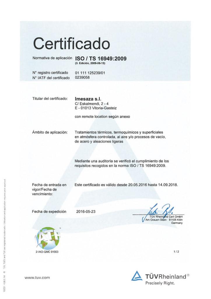 Certificado Imesaza ISO 16949:2009