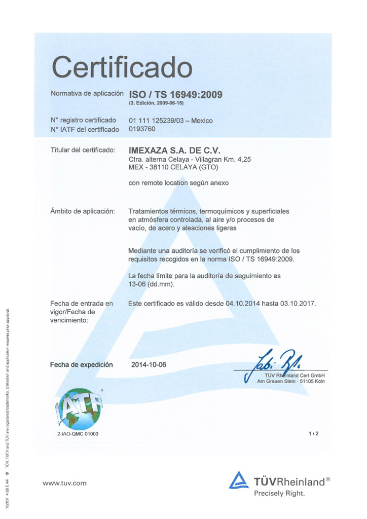 Certificado Imexaza ISO 16949