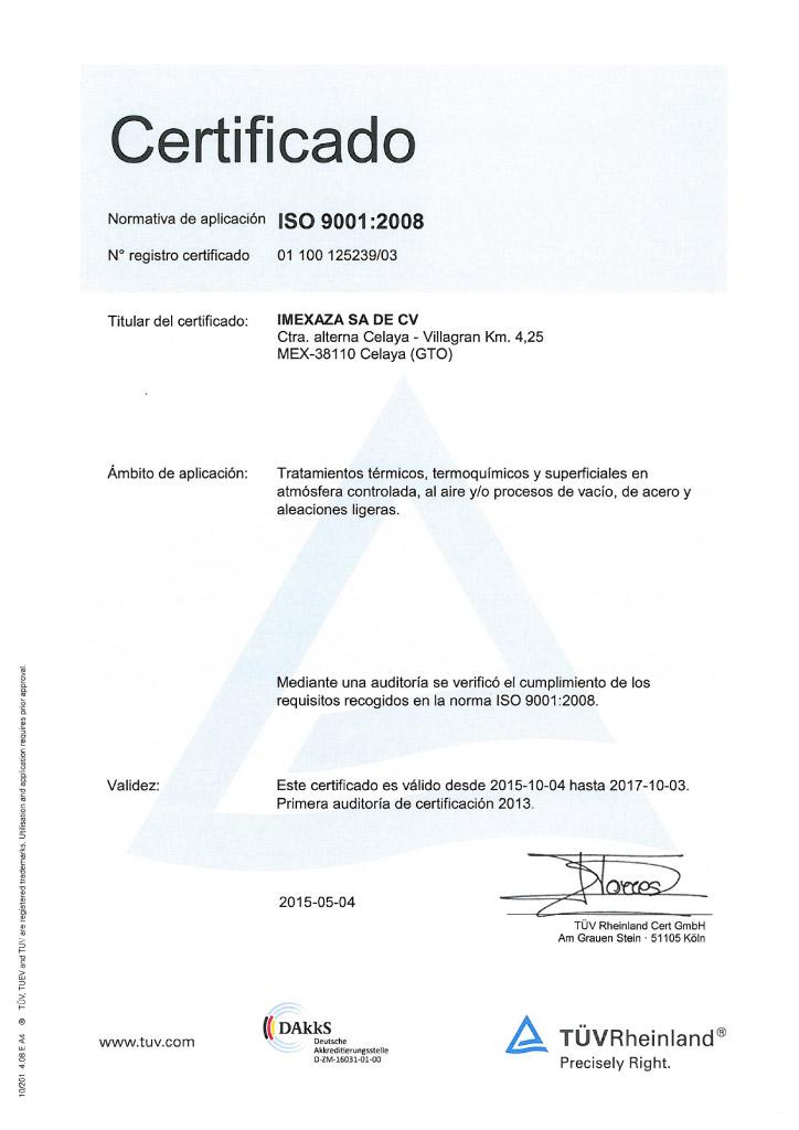 Certificado Imexaza ISO 9001
