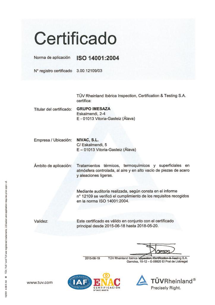 Certificado Nivac ISO 14001