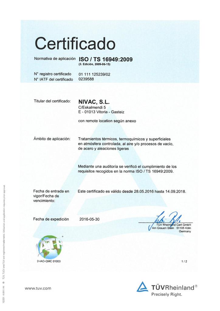 Certificado Nivac ISO 16949