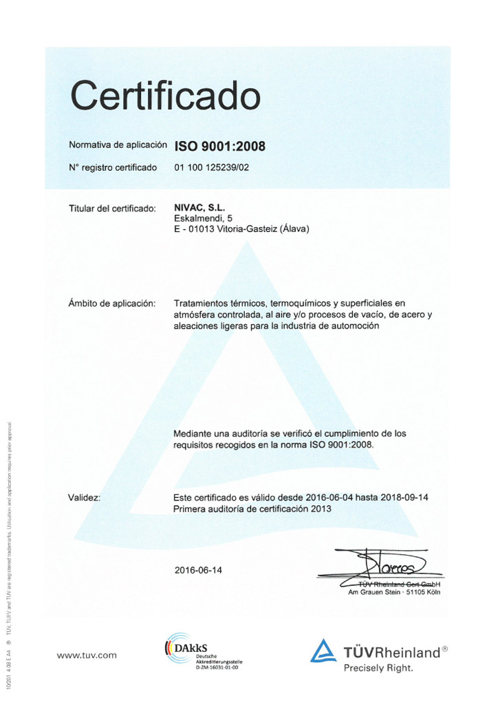 Certificado Nivac ISO 9001