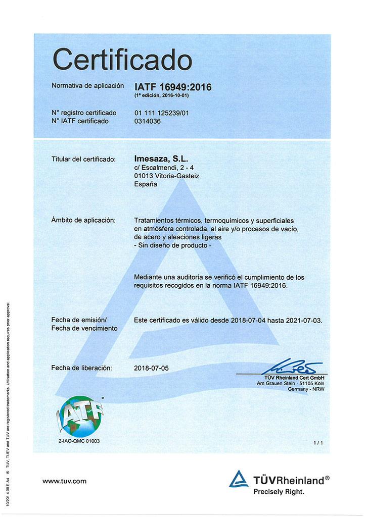 Certificado Imesaza IATF