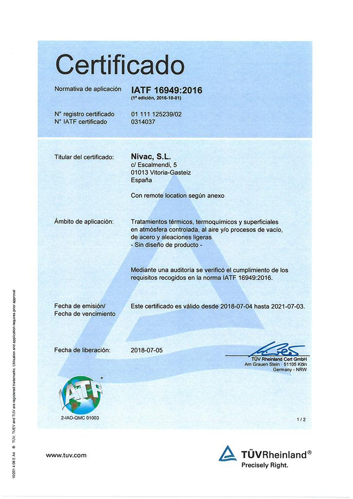 Certificado Nivac IATF