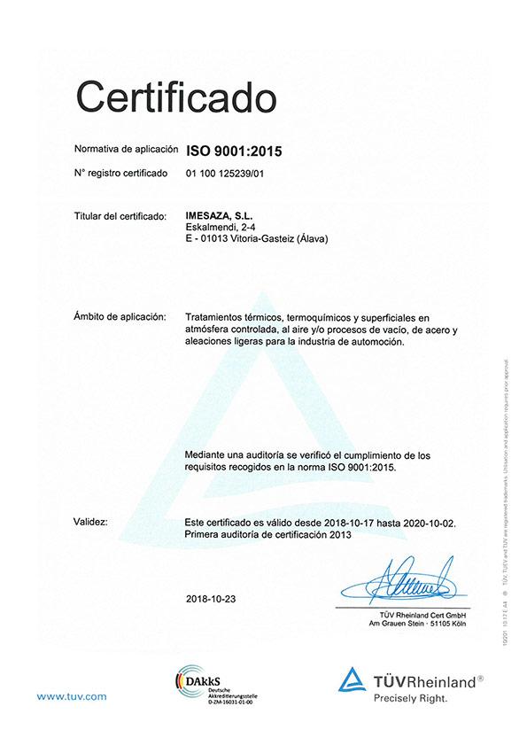Imesaza ISO 9001:2015