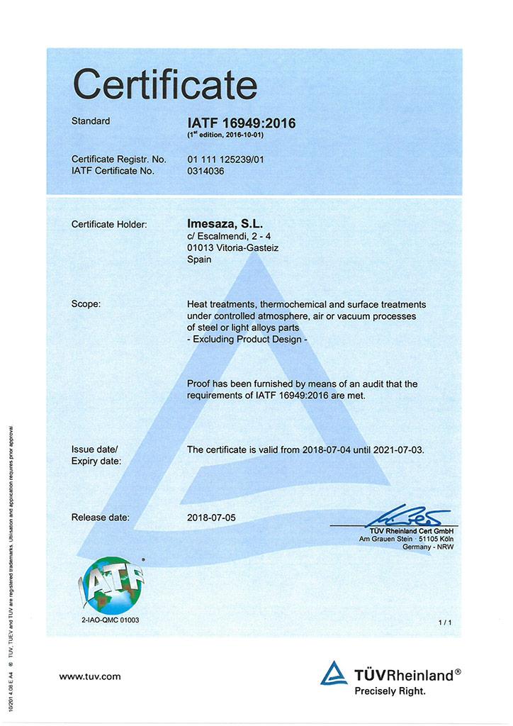 IATF Imesaza certificate