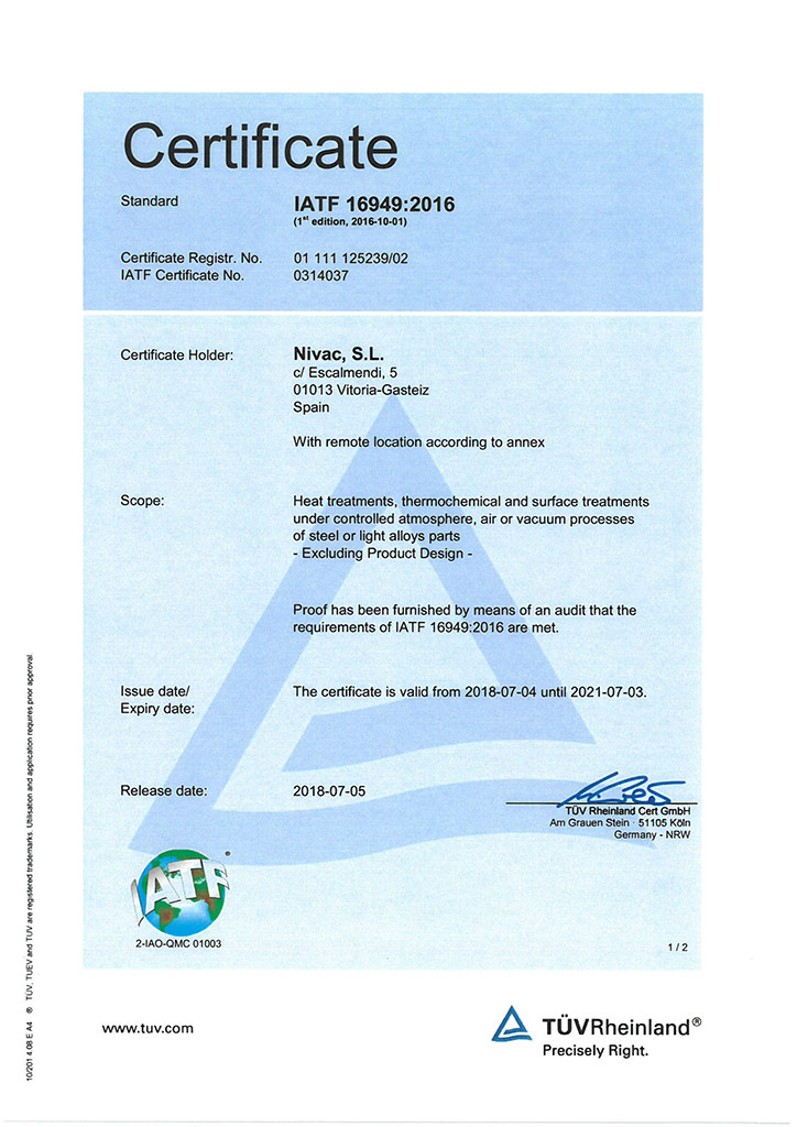 IATF Nivac certificate
