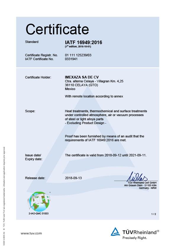 Imexaza certificate 16949