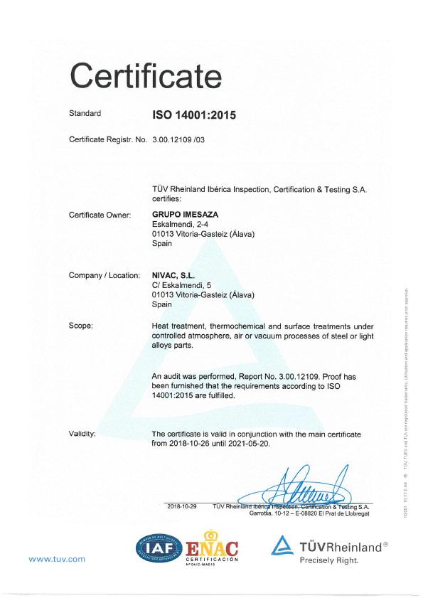 Nivac ISO 14001:2015