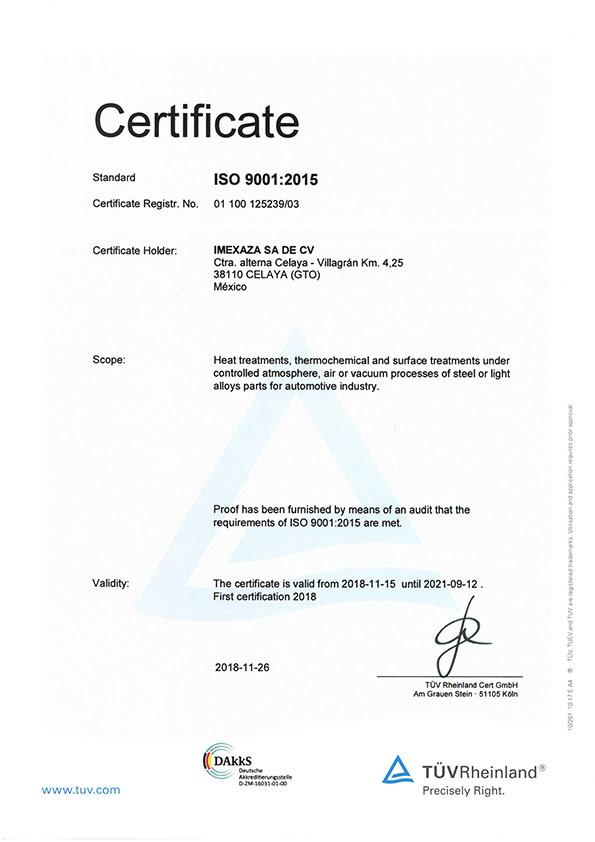 Certificado Imexaza ISO 9001:2015