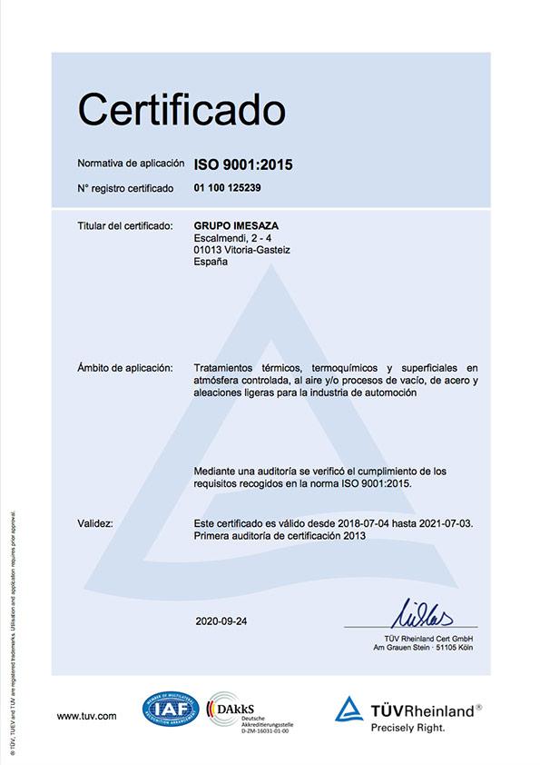 Certificate Imexaza ISO 9001:2015
